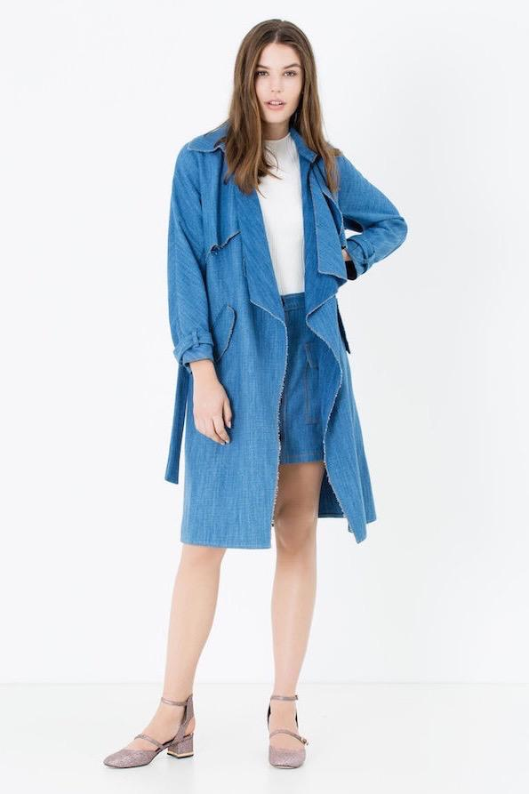 Jeans max and co denim effect trench coat (1)