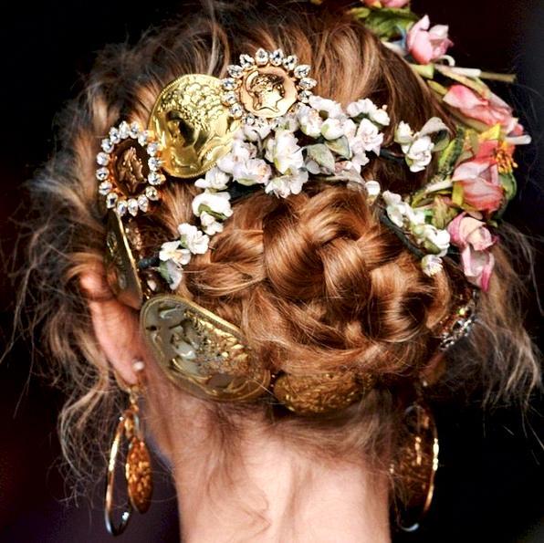 trak za lase s cvetovi Dolce&Gabanna